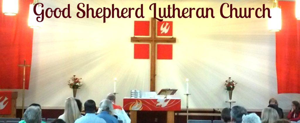 Good Shepherd Lutheran Church of Loudonville NY; radiating cross on santuary; red banners